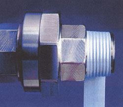 Pipe threads wrapped with Mill-Rose Blue Monster Nickel Guard Anti-Seize Thread Sealing Tape